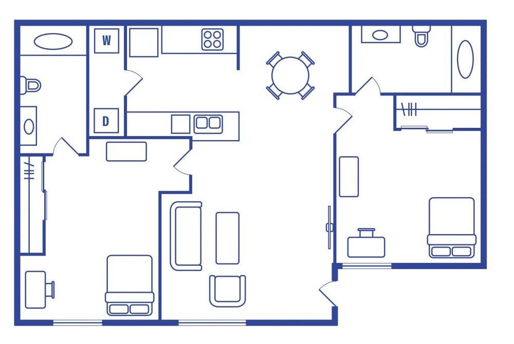 2 Bedroom 2 Bath Student Apartments