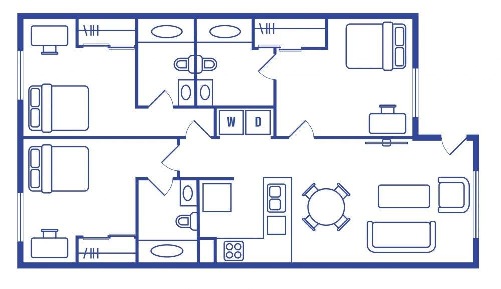 3 Bedroom 3 Bath Student Apartments
