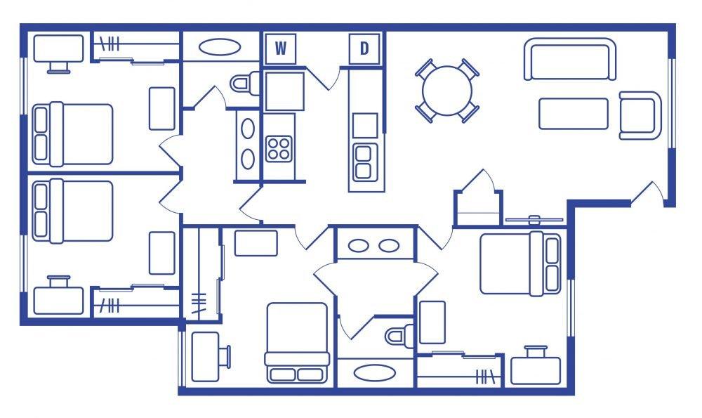 4 Bedroom 2 Bath Student Apartments